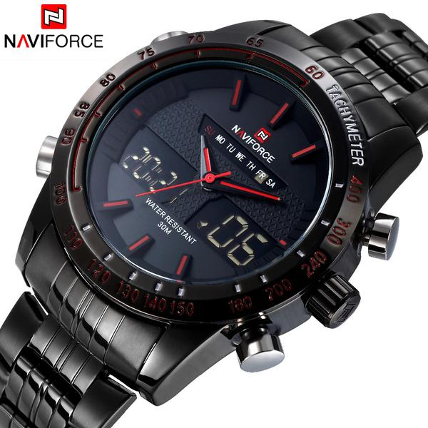 NAVIFORCE Casual Watch For Men Analog  Digital Stainless Steel Watch