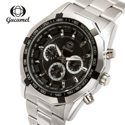 Men Quartz Watch Decorative Sub-dial Stainless Steel Band Men Wristwatch