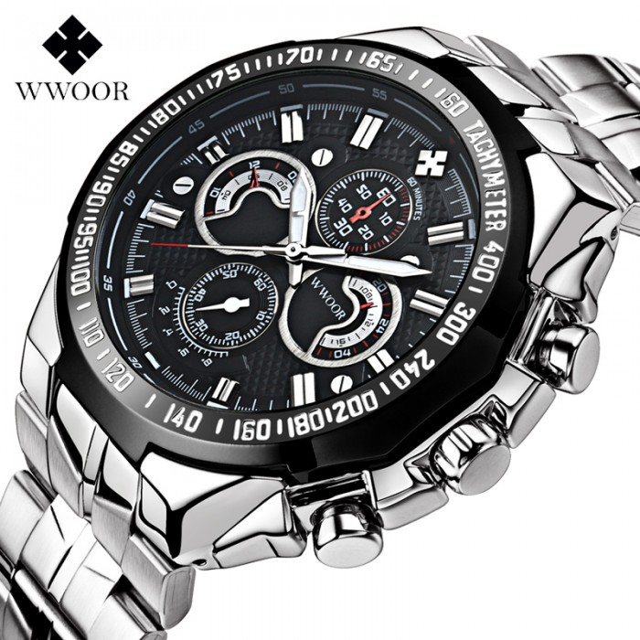Wwoor Luxury Brand Men's Watches Stainless Steel Strap Sports Waterproof Watch