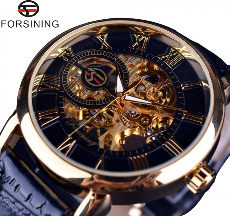 Forsining  Men Skeleton Mechanical Watch