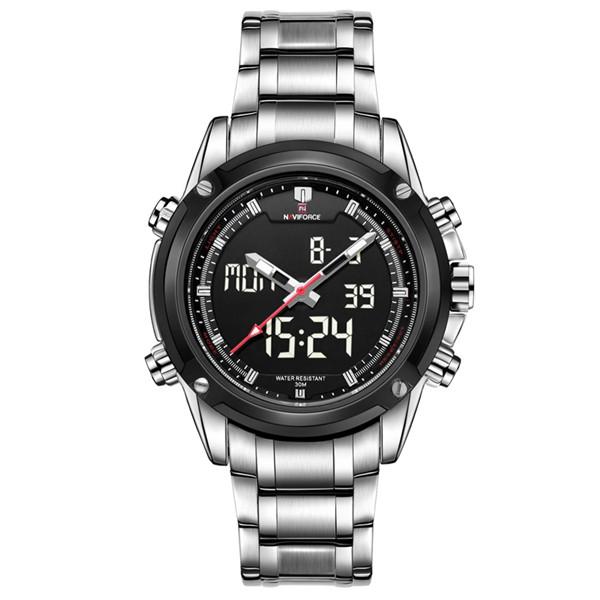 NAVIFORCE Brand Sport Full Steel Quartz Analog LED  Wristwatch