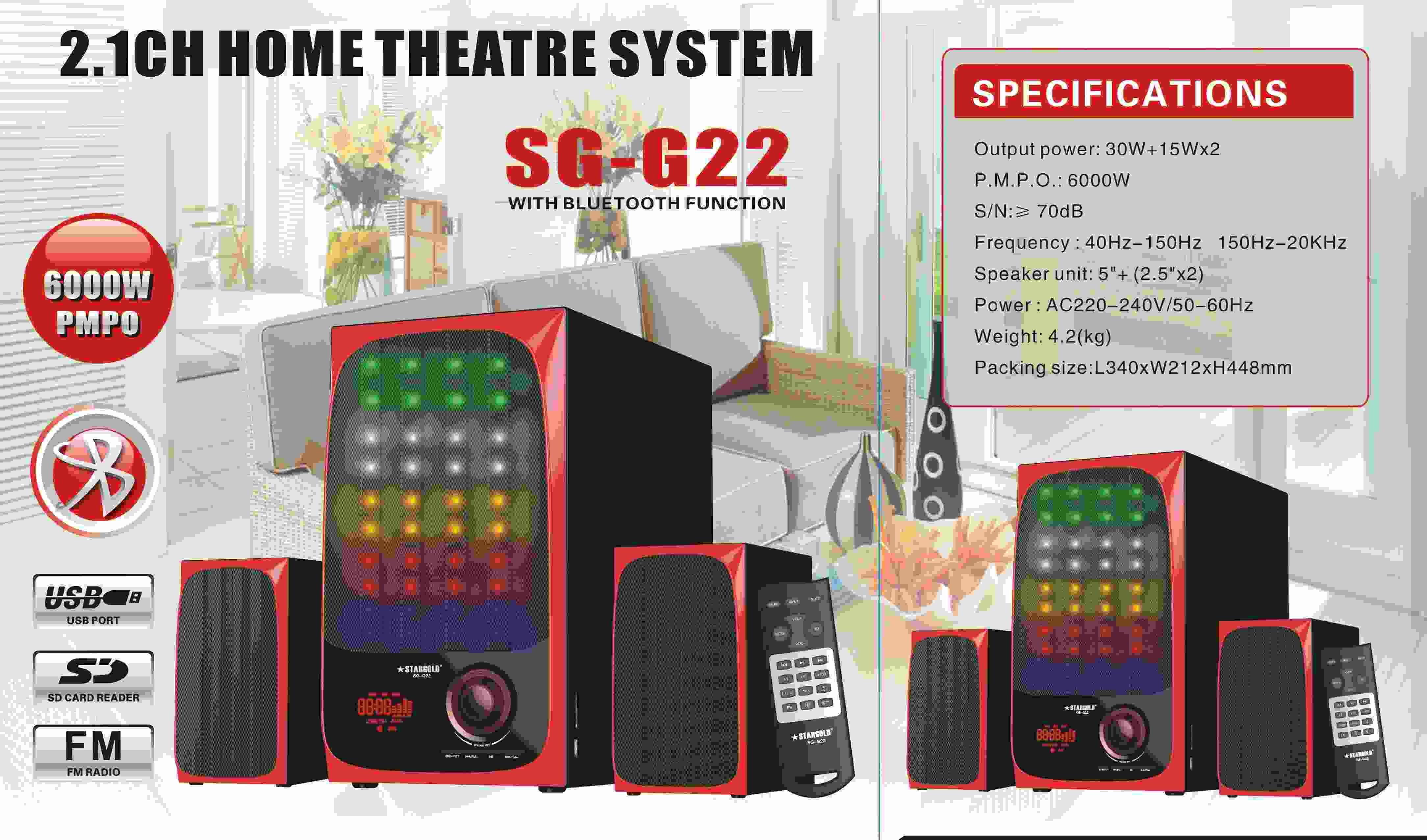 Stargold 2.1ch Home Theatre System SG-G22