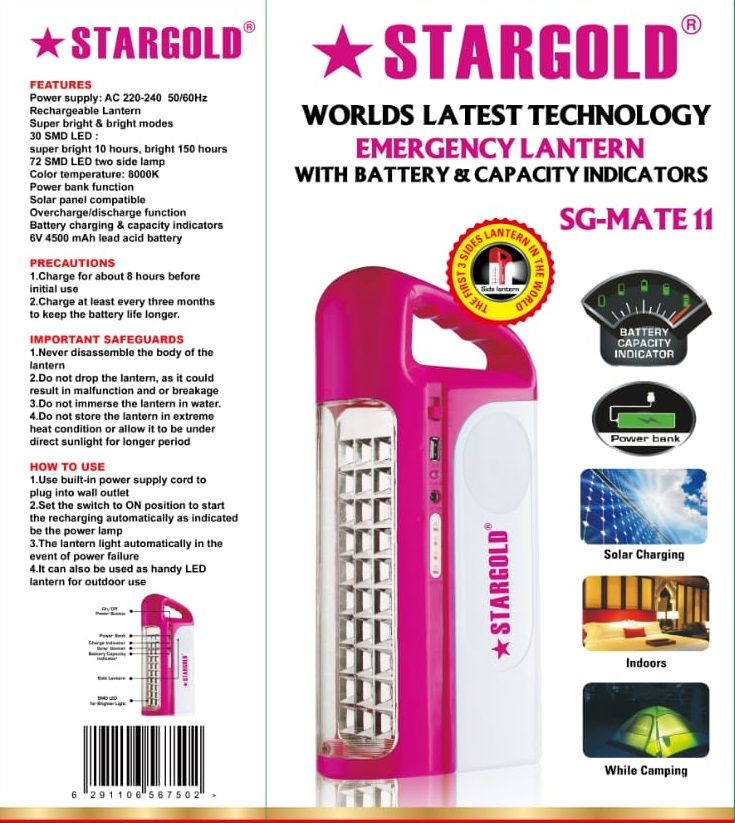 Stargold  Rechargeable Emergency Light With Solar Panel SG-Mate-11