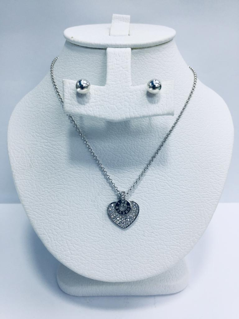 NECKLACE AND STUD WOMEN SET ITALIAN SILVER 925